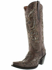 Womens Brown Python Snake Cross Western Tall Leather Cowboy Boots Rodeo Cowgirl