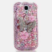 FOR SAMSUNG GALAXY S6 NOTE 5 CRYSTALS BLING CASE COVER BUTTERFLY PINK PEARLS