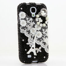 FOR SAMSUNG GALAXY S6 NOTE 5 CRYSTALS BLING CASE COVER WHITE LACE FLOWERS DESIGN