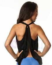 Coqueta Backless Tank Top Sexy Fashion Knotted Tunic Sport Shirt Halter BLACK
