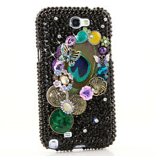 FOR SAMSUNG GALAXY S6 NOTE 5 CRYSTALS BLING CASE COVER BLACK PEACOCK FEATHER