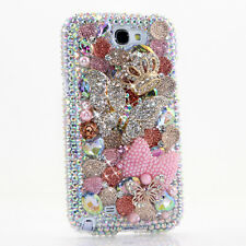 FOR SAMSUNG GALAXY S6 NOTE 5 CRYSTALS BLING CASE COVER LARGE BUTTERFLY PINK BOW