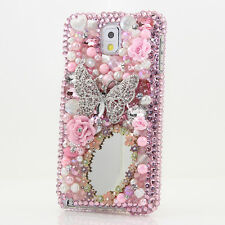 FOR SAMSUNG GALAXY S6 NOTE 5 CRYSTALS BLING CASE COVER BUTTERFLY MIRROR PINK