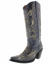 Womens Denim Blue Python Cross Cowboy Cowgirl Western Leather Rodeo Boots
