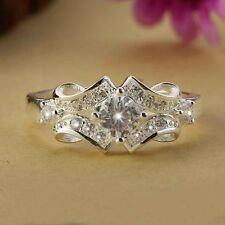 925 Sterling Silver Swarovski Crystal Wedding Engagement Wide Ring Size 6-9