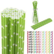 25/50/100 Biodegradable Striped Paper Drinking Straws Wedding Birthday Party HOT