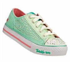 New Girls Skechers 10353L Twinkle Toes Shuffle Glamour Ties Light Up Shoes 1-E16