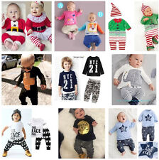 Elephant Toddler Baby Boys Clothes Long Sleeve Tops T-Shirt Pants Outfits Sets G