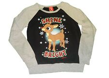 Rudolph The Red-Nosed Reindeer - Shine Bright - Juniors Raglan Sweatshirt - NWT