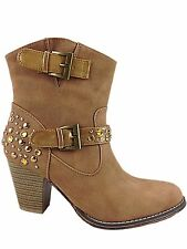 Ladies Tan Cowboy Western Chelsea Ankle Boot Jewelled Faux Suede Line Dancing