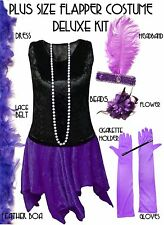 Black / Purple Roaring 20's PLUS SIZE Flapper Dress Halloween Costume XL to 9x