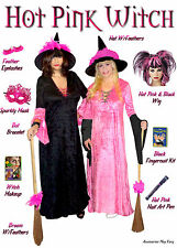 Sexy Pink with Black Sleeves PLUS SIZE Witch Halloween Costume Hot Pink! 1x -9x