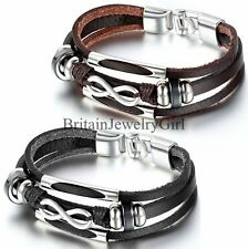 Mens Unisex Charm Infinity Three Layer Leather Tribal Wristband Bracelet 8.3""