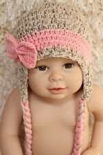Cute Handmade Beige Pink  Knit Crochet Bow Baby  Hat Cap Photo Prop 0-3Year New