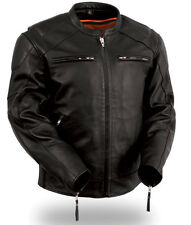 First manufacturing Mens Leather Vented Concealment Motorcycle Jacket FIM246CSLZ
