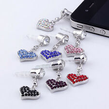 2pcs 3.5mm Clear Crystal Heart Cute Anti Dust Cap Plug Stopper For Cell Phone