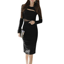 Women Slipover Cut Out Front Shirred Hidded Zip Closure Back Sheath Dress