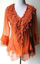 Pretty Angel Vintage Victorian Romantic Renaissance Gypsy Rust Blouse--UNIQUE!