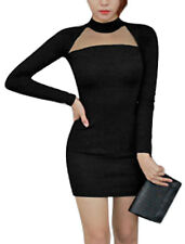 Women Slipover Long Raglan Sleeves Crew Neck Mesh Panel Detail Sheath Dress