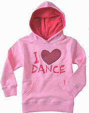 Girls Funky Babe Pink Long Sleeved Hooded Dance Sequin Heart Windcheater Top