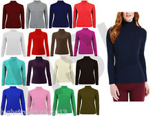 LADIES RIBBED POLO NECK JUMPER TURTLE ROLL NECK FULL SLEEVE PLAIN TOP size uk