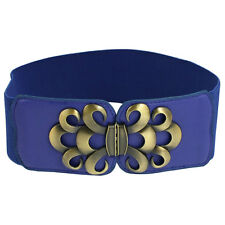 Ladies Faux Leather Metal Buckle Elastic Waist Belt Cinch Band Gift