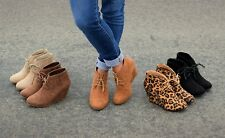 Womens Round Toe Lace Up Wedge Heels Suede Ankle Boots Booties