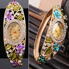 Beautiful Crystal Flower Quartz Wrist Watch Bangle Bracelet Women Girl Xmas Gift