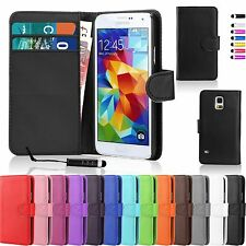 Wallet Flip PU Leather Case Cover Pouch For Samsung Galaxy +Free Mini Stylus