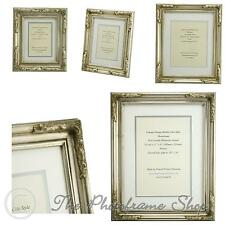 "Antique Silver Shabby & Chic Ornate Vintage Picture Frame & Double Mount 6""x 4""-"