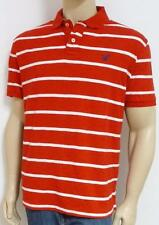 American Eagle Outfitters AEO Mens Red White Stripe Interlock Polo Shirt New NWT