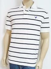American Eagle Outfitters AEO Mens White Navy Stripe Interlock Polo Shirt NWT