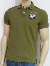 American Eagle Outfitters AEO US-7 Appliqued Mens Olive Green Polo Shirt New NWT