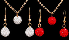 Wedding Silver Red Shamballa Earring & Filled Gold Necklace Chain Jewellery Set