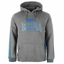 Lonsdale London 2 Stripe Logo Pullover Hoody Mens Charcoal/Blue Jumper Sweater