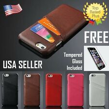 Leather Pouch Credit Card Wallet Case Cover for Apple iPhone 6 6S Plus + GLASS