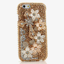 iPhone 6 6S / 6S Plus 5S Bling Crystal Case Cover White Gold Flowers Cross