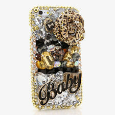 iPhone 6 6S / 6S Plus 5S Bling Crystals Case Cover Gold Leopard Flower Baby 3D