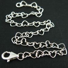 Sterling Silver Necklace Chain Heart Link Necklace (All Sizes) Made in Italy