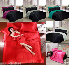 6 PIECE SATIN COMPLETE BEDDING SET DUVET COVER FITTED SHEET & PILLOWCASES