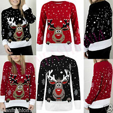 LADIES KNITTED RUDOLPH REINDEER XMAS WOMENS CHRISTMAS NOVELTY JUMPER SWEATER