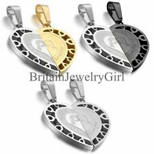 """Couple Stainless Steel Necklace Sets """"Love You"""" Matching Heart Shape Pendant"""