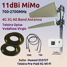 11dBi 4G 3G 700-2700 MiMo Aerial for Telstra PrePaid 4G WiFi E5372T Coax FME TS9
