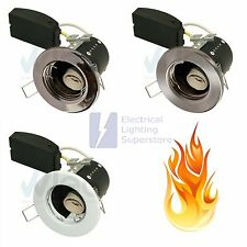 10 x Fire Rated Fixed Short Can Small Downlight GU10 Mains 240V Pressed Steel