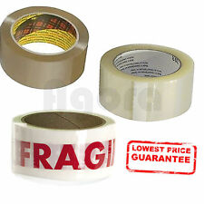 STRONG PARCEL PACKING TAPE 1 2 4 6 24 36 72 ROLL BROWN / CLEAR/ FRAGILE 48MMX66M