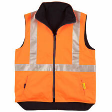 New Hi-Vis Reversible Safety Vest with 3M Tapes Fluoro Orange Yellow Work Wear