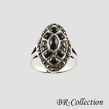 Stylish Sterling Silver Ring with Black Onyx and Swiss Marcasite