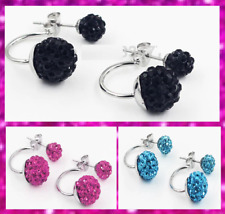925 Sterling Silver Crystal 10mm Shamballa Ball Double Stud Earrings 3 Colours