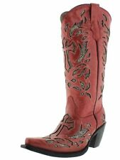 Womens Red Python Snake Cross Western Tall Leather Cowboy Boots Rodeo Cowgirl