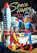Space Happy : Vintage magazine cover advertising poster, Wall art.